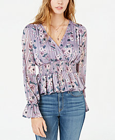 Crave Fame Juniors' Metallic Floral-Print Top