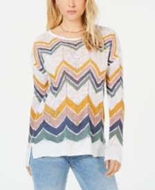 Hippie Rose Juniors' Chevron Pointelle Sweater
