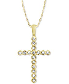 "Diamond Cross 18"" Pendant Necklace (1/8 ct. t.w.) in 10k Gold"