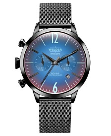 WELDER Women's Black Stainless Steel Mesh Bracelet Watch 38mm