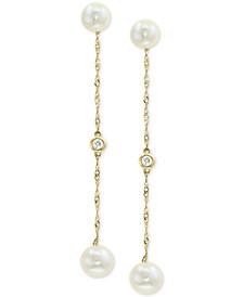 EFFY® Cultured Freshwater Pearl (5 & 6mm) & Diamond Accent Drop Earrings in 14k Gold
