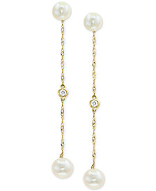 EFFY® Cultured Freshwater Pearl (5 & 6mm) & Diamond Accent Drop Earrings in 14k Gold