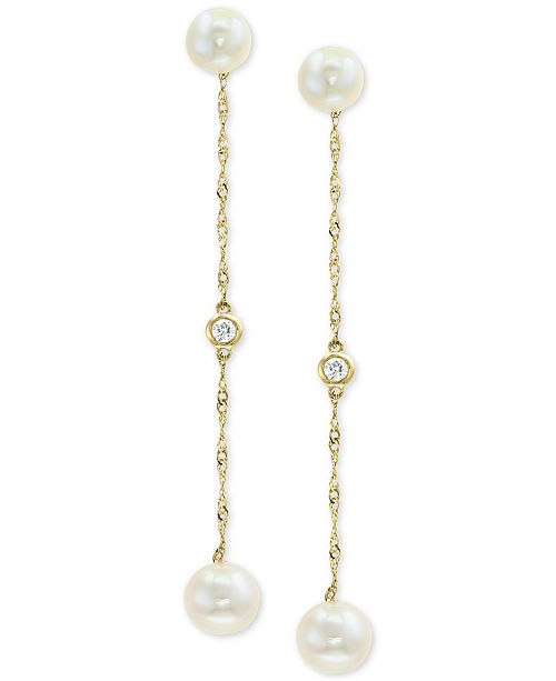 EFFY Collection EFFY® Cultured Freshwater Pearl (5 & 6mm) & Diamond Accent Drop Earrings in 14k Gold