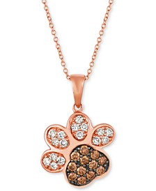 "Nude™ & Chocolate® Diamond Paw Print 20"" Pendant Necklace (3/4 ct. t.w.) in 14k Rose Gold"