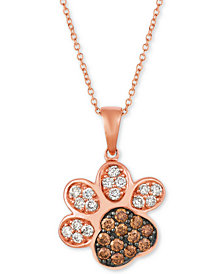 """Le Vian® Nude™ & Chocolate® Diamond Paw Print 20"""" Pendant Necklace (3/4 ct. t.w.) in 14k Rose Gold"""