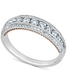 Diamond Two-Tone Band (3/4 ct. t.w.) in 14k White Gold & Rose Gold