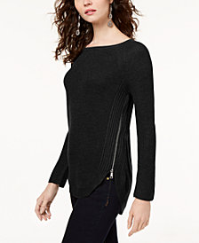 I.N.C. Petite Waffle-Knit Side-Zip Tunic Sweater, Created for Macy's