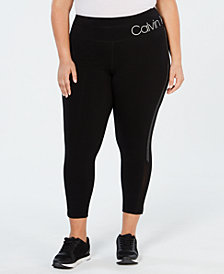 Calvin Klein Performance Plus Size High-Rise Studded Stripe Ankle Leggings