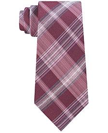 Calvin Klein Men's Salt & Pepper Slim Plaid Tie