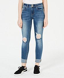 Indigo Rein Juniors' Ripped & Cuffed Skinny Jeans