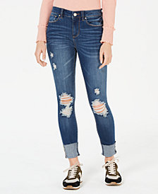 Indigo Rein Juniors' Big-Cuff Skinny Jeans