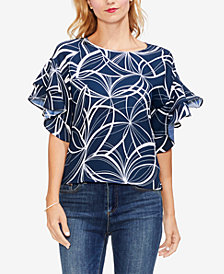 Vince Camuto Printed Tiered Ruffled-Sleeve Top