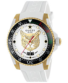 Gucci Unisex Swiss Diver White Rubber Strap Watch 40mm