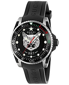 Gucci Men's Swiss Diver Black Rubber Strap Watch 40mm