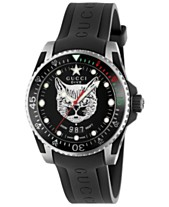 1813bcd90 Gucci Men's Swiss Diver Black Rubber Strap Watch 40mm