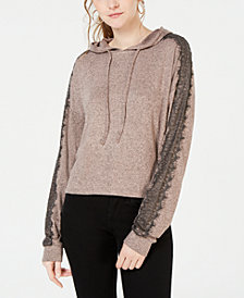 Ultra Flirt by Ikeddi Juniors' Lace-Trimmed Marled Hoodie