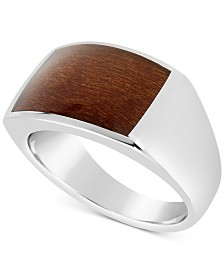 Men's Wood Inlay Ring in Sterling Silver
