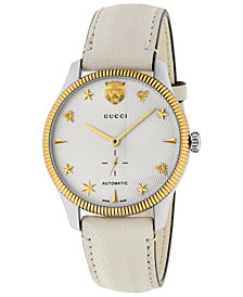Gucci Unisex Swiss Automatic G-Timeless White Leather Strap Watch 40mm