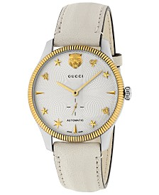 83887fc30ad423 Gucci Unisex Swiss Automatic G-Timeless White Leather Strap Watch 40mm