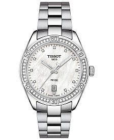 Tissot Women's Swiss PR 100 Sporty Chic Diamond-Accent Stainless Steel Bracelet Watch 36mm - A Special Edition