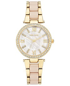 Anne Klein Women's Blush & Gold-Tone Bracelet Watch 33mm