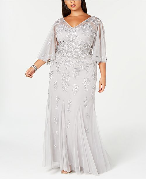 Plus Size Beaded Wide-Sleeve Gown