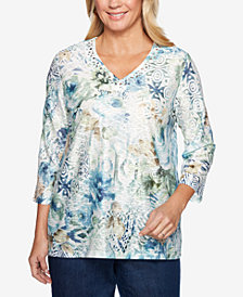Alfred Dunner Greenwich Hills Embellished Floral-Print Textured Top