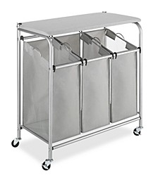 3 Section Rolling Laundry Sorter with Folding Station