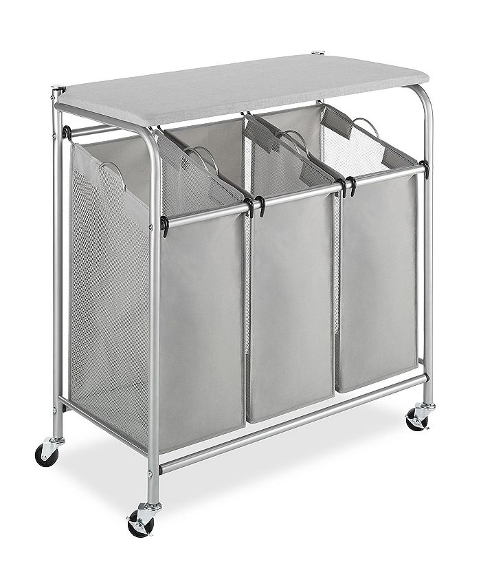 Whitmor - 3 Section Rolling Laundry Sorter with Folding Station