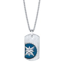 "He Rocks Double Tag Blue Compass Pendant Necklace in Stainless Steel, 24"" Chain"