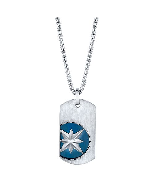 """Unwritten He Rocks Double Tag Blue Compass Pendant Necklace in Stainless Steel, 24"""" Chain"""