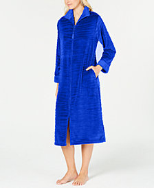 Miss Elaine Textured Fleece Long Zip Robe