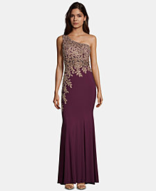 XSCAPE Embroidered One-Shoulder Gown