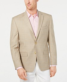 Men's Classic-Fit UltraFlex Stretch Tan/Blue Windowpane Sport Coat