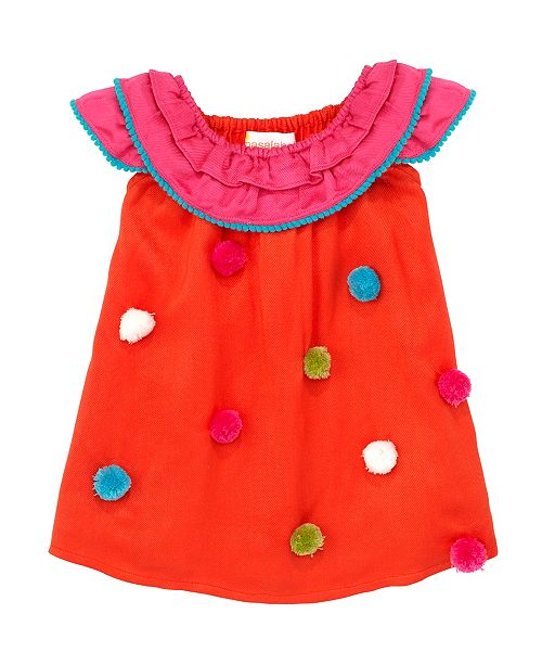 Masala Baby Baby Girl's Pom Pom Flutter Dress