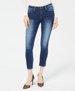 FLYING MONKEY Cropped Skinny Jeans in West Blue