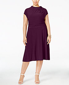 Love Squared Plus Size Tie-Neck A-Line Dress