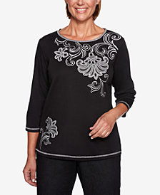 Alfred Dunner Petite Grand Boulevard Embroidered Scoop-Neck Top