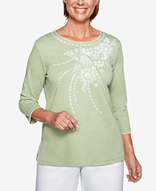 Alfred Dunner Petite Greenwich Hills Embroidered 3/4-Sleeve Top