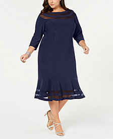 XSCAPE Plus Size Illusion-Inset Dress