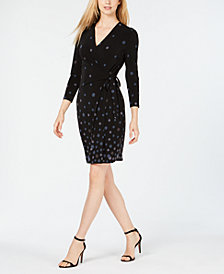 Anne Klein Nathalie Printed Faux-Wrap Dress