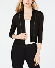 Anne Klein Pointelle-Trim Cropped Cardigan