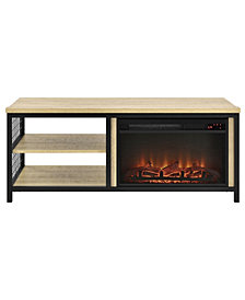 Ameriwood Home Lone Oak Fireplace TV Stand