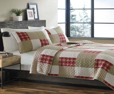 Camano Island Red King Quilt Set