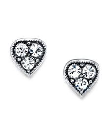 Silver Tone Crystal Heart Stud Earrings