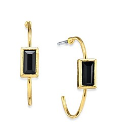 14K Gold Dipped Square Crystal Open Hoop Stainless Steel Post Small Earrings