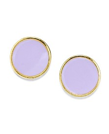 2028 14K Gold Dipped Large Round Enamel Button Earring