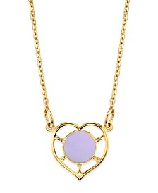 """14K Gold Dipped Heart With Round Circle Light Blue Enamel Necklace 16"""""""