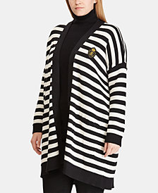 Lauren Ralph Lauren Plus Size Striped Embroidered-Patch Cardigan