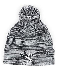 Authentic NHL Headwear San Jose Sharks Black White Cuffed Pom Knit Hat